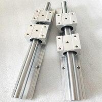2 pcs SBR16 1200mm 1250mm 1300mm linear guide and 4 pcs SBR16UU linear bearing blocks for CNC parts