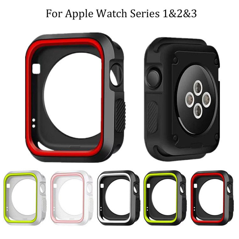 Fashion Dual Colors Soft Silicone Case Bumper For Apple Watch iWatch Series 1 & 2 & 3 Cover Frame Full Protection 42mm 38mm new silicone case watch frame for apple watch series 3 2 1 38mm 42mm watch band full protection case cover for apple iwatch 3 2