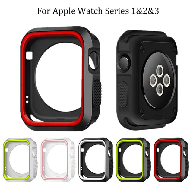 7b121c1a8de Fashion Dual Colors Soft Silicone Case Bumper For Apple Watch iWatch Series  1   2   3 Cover Frame Full Protection 42mm 38mm