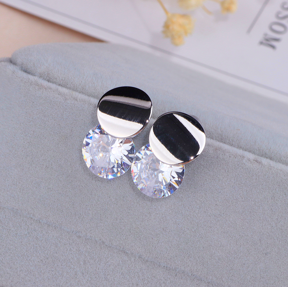 Classic Crystal Round Stud Earrings for Women Girls Gold Sliver Color Simple Elegant Zircon Earrings For Wedding Jewelry WX150