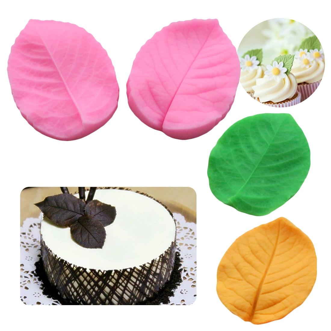 New 2pcs Rose Leaf Press Silicone Fondant Cake Mould Chocolate Candy Decor Molds