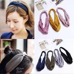 2019 Новый Для женщин весенние замшевые мягкие однотонные повязки на голову Винтаж крест узел эластичные Hairbands банданы для девочек волосы