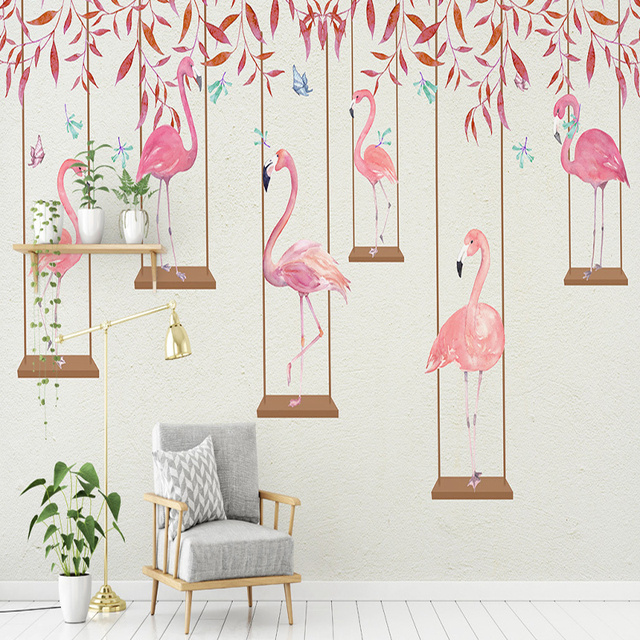 Custom Flamingo Photo Wallpapers Wall Murals For Kids Living Room Background Cartoon Pattern Papers Home Decor Flowers