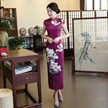 High Quality Chinese Women Vintage Long Slim Silk Cheongsam Qipao Summer Elegant Slim Dress Flowers Size M L XL XXL XXXL 4XL