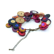 Hot new charm of dopamine multilayer color beads sequins knitting coconut shell bracelets and bangles free shipping BT86