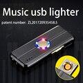 USB перезаряжаемая Зажигалка Tungsten Turbo сигарета для курения может воспроизводить музыку с возможностью вращения