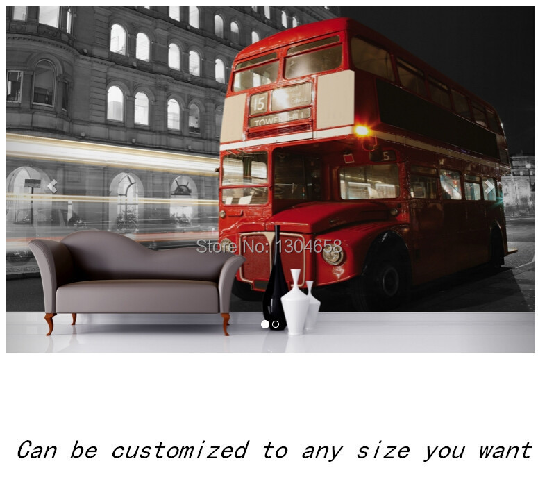 Free shipping custom murals Red London Bus Wall Mural bedroom, living room TV backdrop wallpaper free shipping england wind red white blue fashion backdrop tv backdrop bedroom living room mural wallpaper
