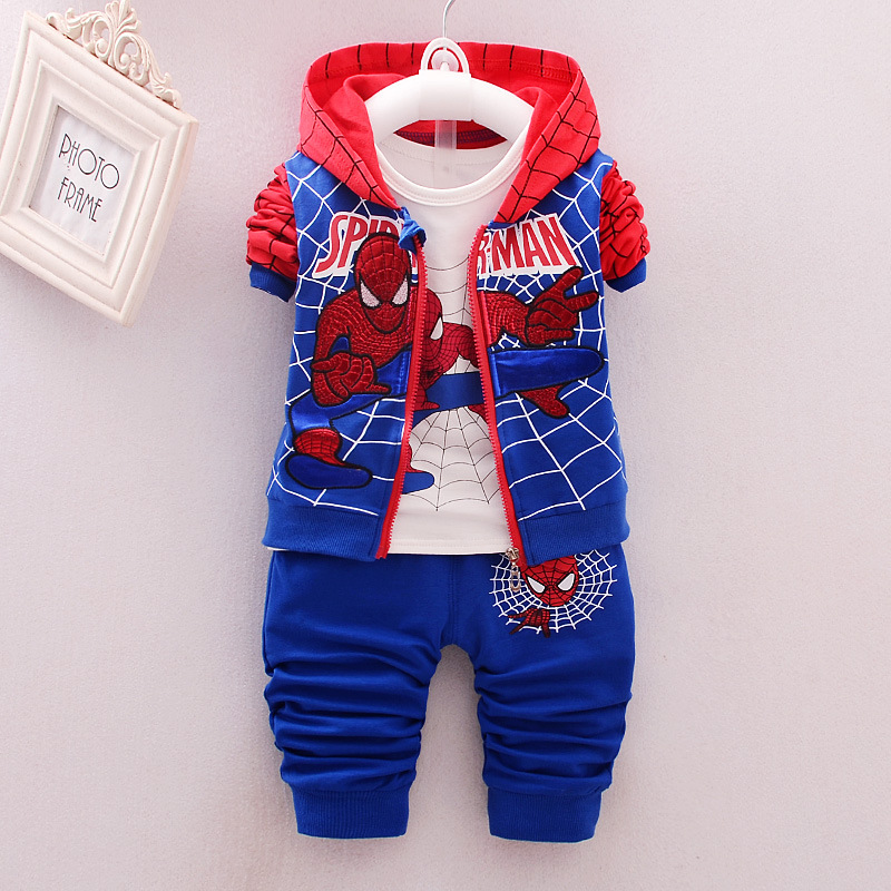 2019 New Style Baby kids Clothing 3pcs Suit/set Children Spiderman Long Sleeves T-shirt+Patchwork Pants Sets Free Shipping 0-4Y