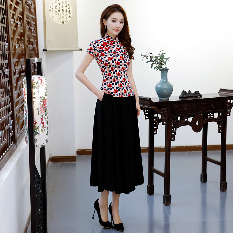 À gris Femmes Style1 Summer Cheongsam 1864 9975 Traditionnels 1864 Courtes Ensembles Mandarin Style2 Chemise Robe Manches Chemisier Col S 2 Pc Taille Jupe xxxl New Chinois zFxBqnC4Bw