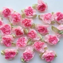 Fita de cetim rosa flores de costura artesanal, apliques de decoração de casamento a0008 com 10 peças