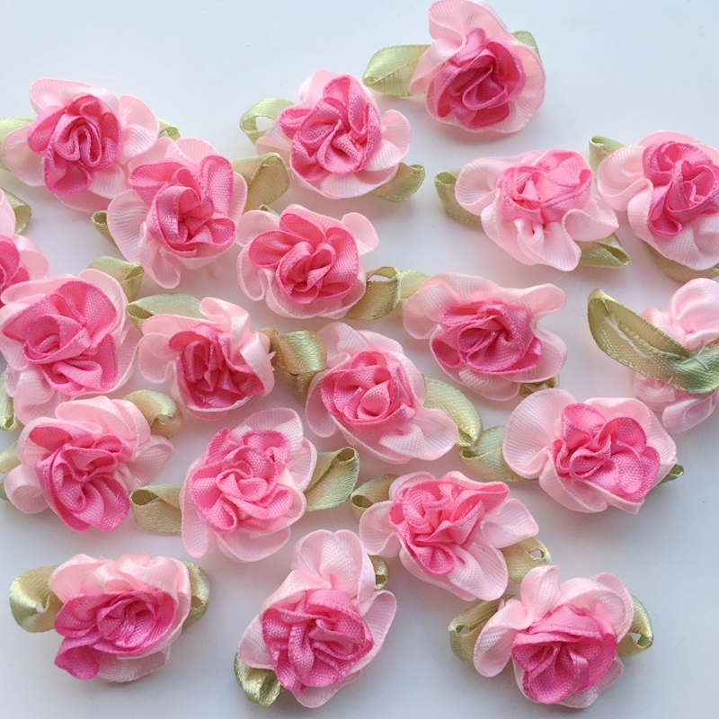 10Pcs Upick Satin Ribbon Flowers Bows Rhinestone Appliques Craft Wedding Novelty