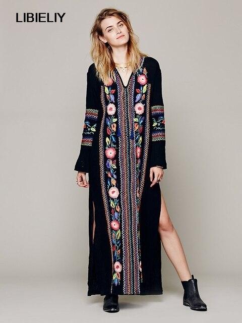 8b8bbbe3bad6 Novedad moda Primavera Verano mujer pista Hippie Boho gente étnico bordado  Maxi Vestido largo Bohemia playa