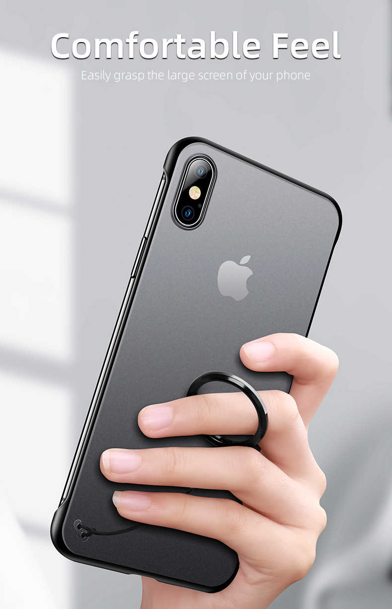iHaitun Luxury Borderless Phone Case For iPhone XS MAX XR X Cases Ultra Thin Back Cover For iPhone X 10 7 8 Plus Slim Ring Strap