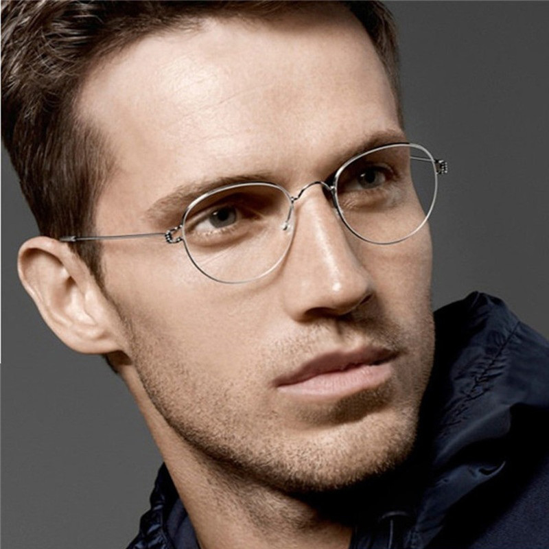 Myopia Prescription Glasses Optical Eyeglass Titanium Rim Round Frame Men's Eyeglasses Women Screwless Eyewear Korean Denmark(China)