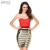 Brand New 2015 New Style Top Quality Yellow And Gold Red Patchwork Bodycon Prom Celebrity Bandage
