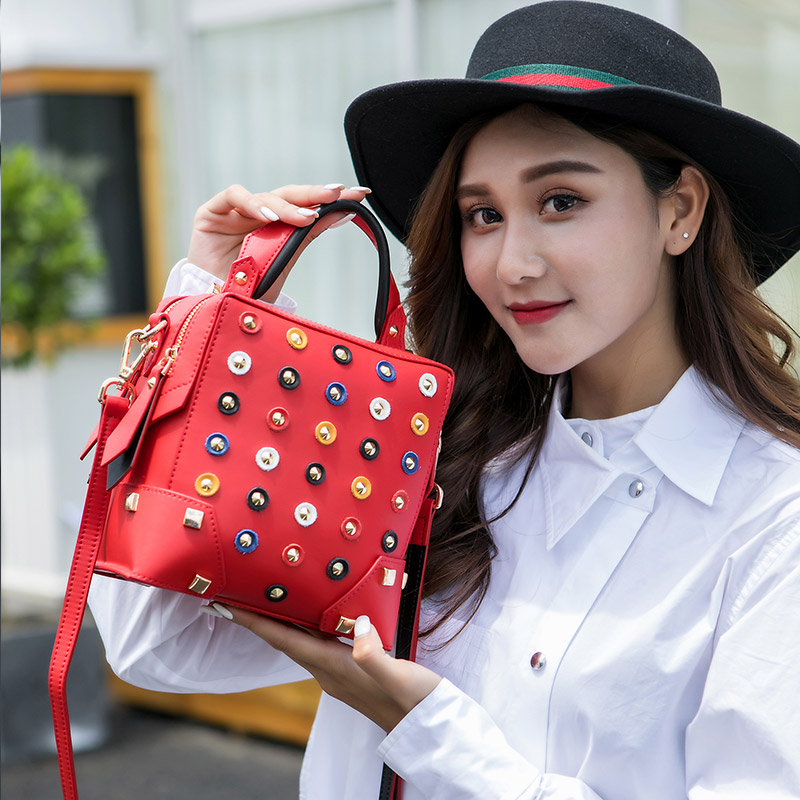 KZNI Real Leather Tote Bag for Girl Rivet Crossbody Bag Female Purses and Handbags High Quality Sac a Main Femme Pochette 9128 kzni ladies purse small crossbody bags for women flower handbag purses and handbags party bags for girl sac femme pochette 18002
