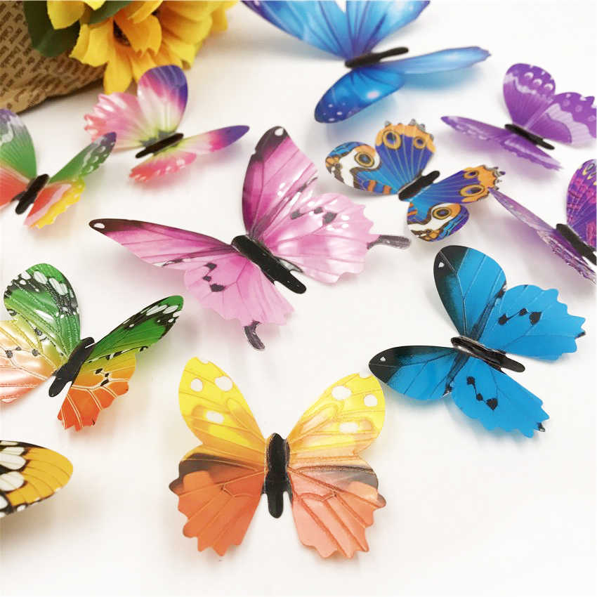 12pcs Luminous Butterfly Design Decal Art Wall Stickers Room Magnetic diy stickers Wallpaper Decoration Home Decor