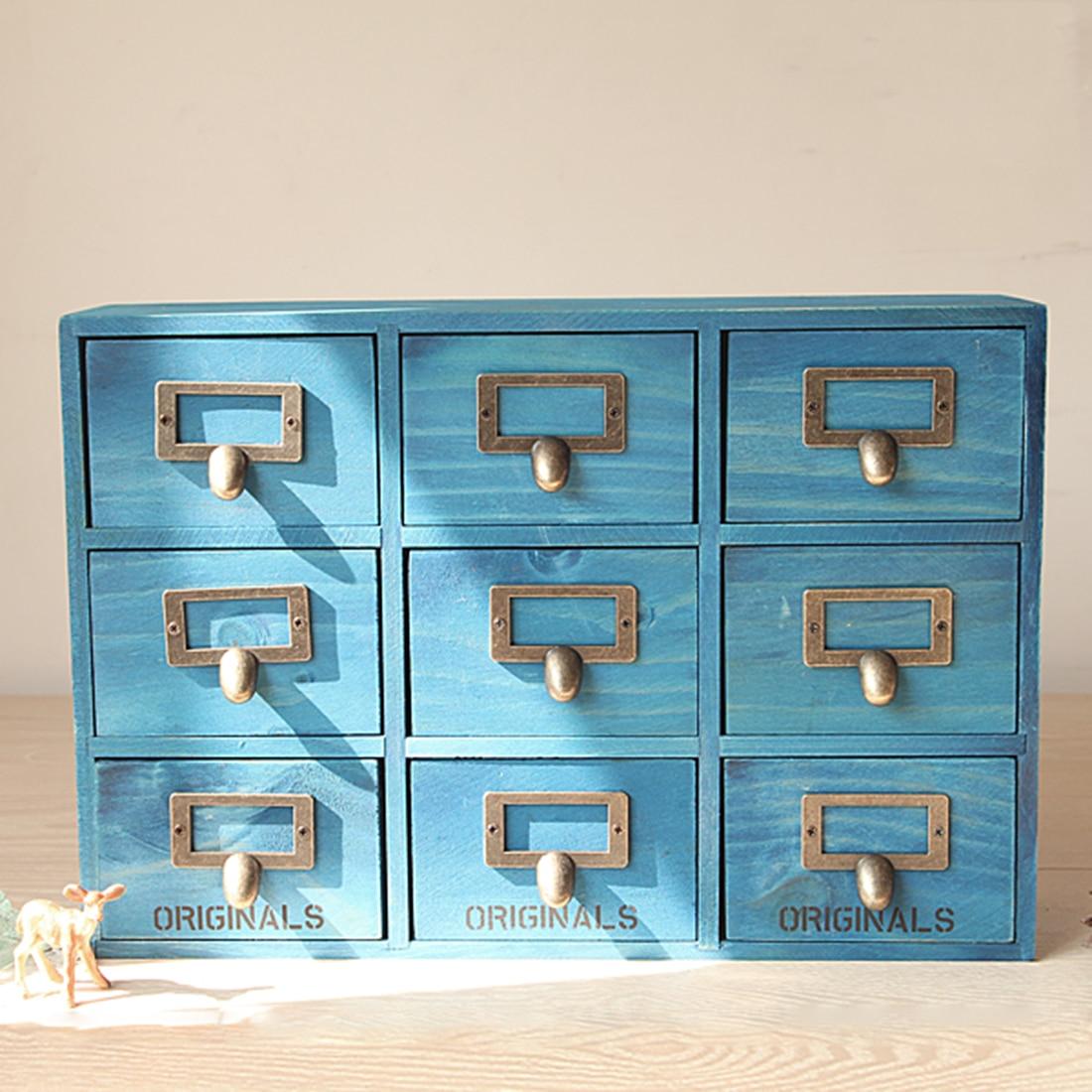 Retro Design Household Essentials 3 Level 9 Drawer Zakka Wooden