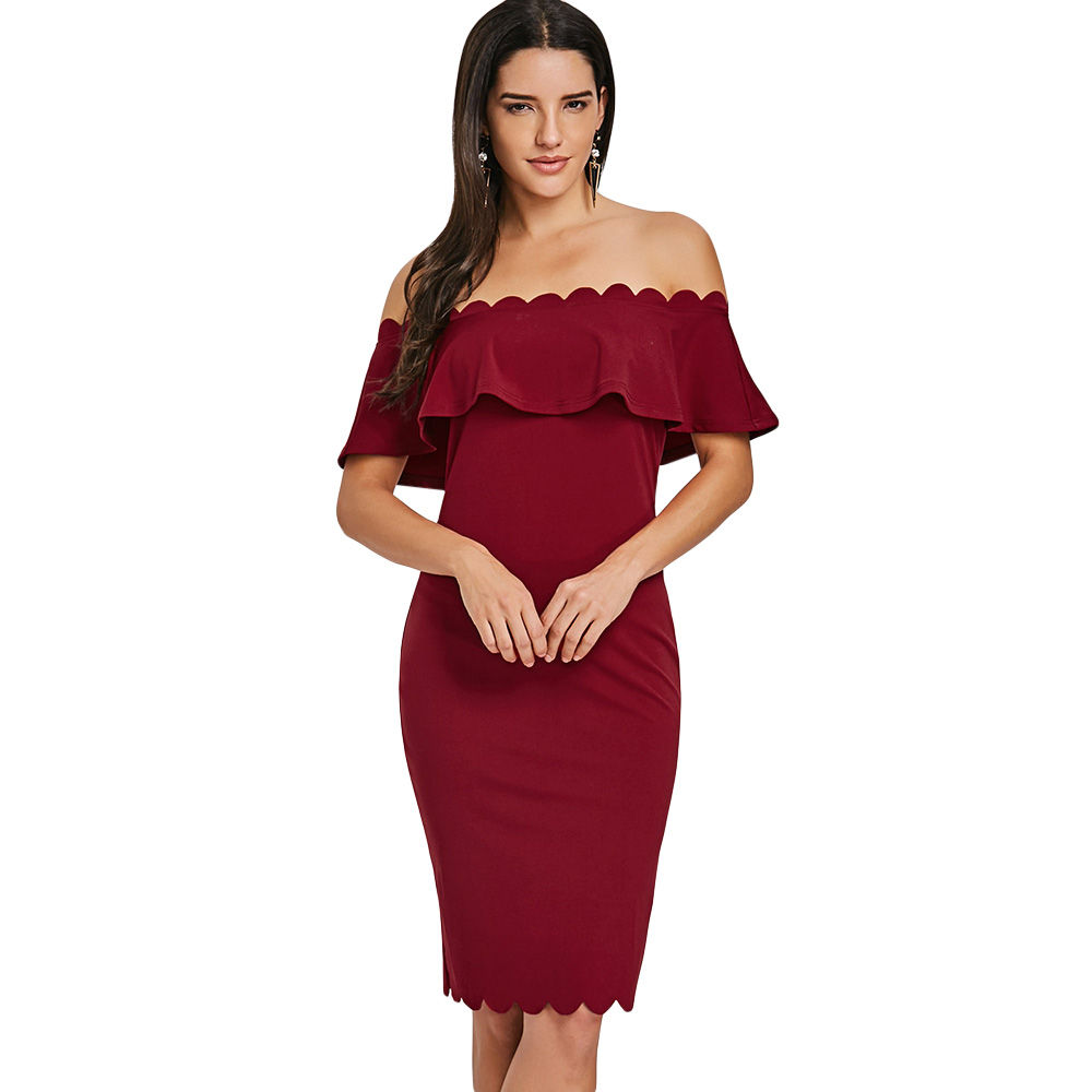 Sexy Women Summer Dress 2018 Off The Shoulder Ruffled Bodycon Scalloped Brick Red Dress Elegant Solid Color Bodycon Female Cloth