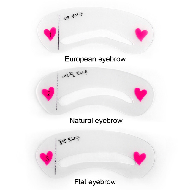 3pcs Pro Reusable Eyebrow Stencil Set Eye Brow DIY Drawing Guide Styling Shaping Grooming Template Card Easy Makeup Beauty Kit 2