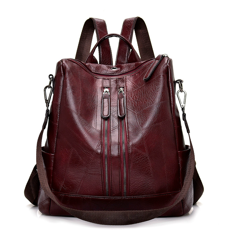 Image 2 - 2019 Vintage Women Backpack High Quality Youth Leather Backpacks for Teenage Girls Female School Shoulder Bag Bagpack mochila-in Backpacks from Luggage & Bags