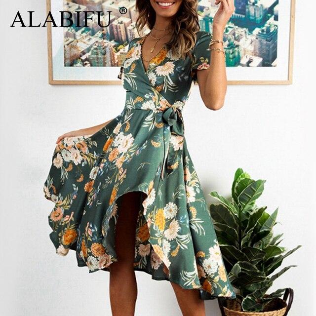 ALABIFU Long Summer Dress Women 2019 Sexy Short Sleeve Ruffle Party Dress Casual Boho Floral Print Beach Dress Vestidos ukraine