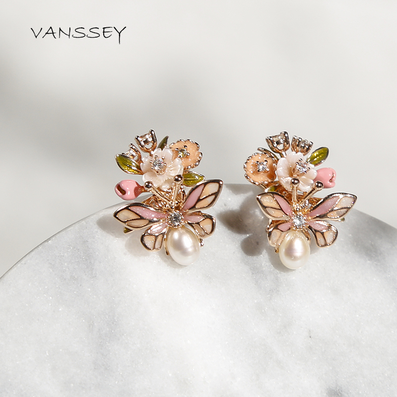 Vanssey Fashion Jewelry Insect Beetle Flower Natural Mother of Pearl Shell Enamel Stud Earrings Accessories for Women 2019 New-in Stud Earrings from Jewelry & Accessories