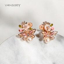 Vanssey brincos femininos, joias da moda, inseto, beetle, flor natural, concha de pérola, brincos de esmalte, acessórios para mulheres, 2020