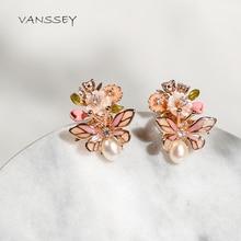 Vanssey תכשיטים חרקים חיפושית פרח טבעי אמא של פרל מעטפת אמייל עגילי אביזרי נשים 2020 חדש