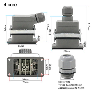 Image 2 - Industrial rectangular heavy duty connector hdc he 4/6/10/16/20/24/32/48 core 16A waterproof aviation plug top and side
