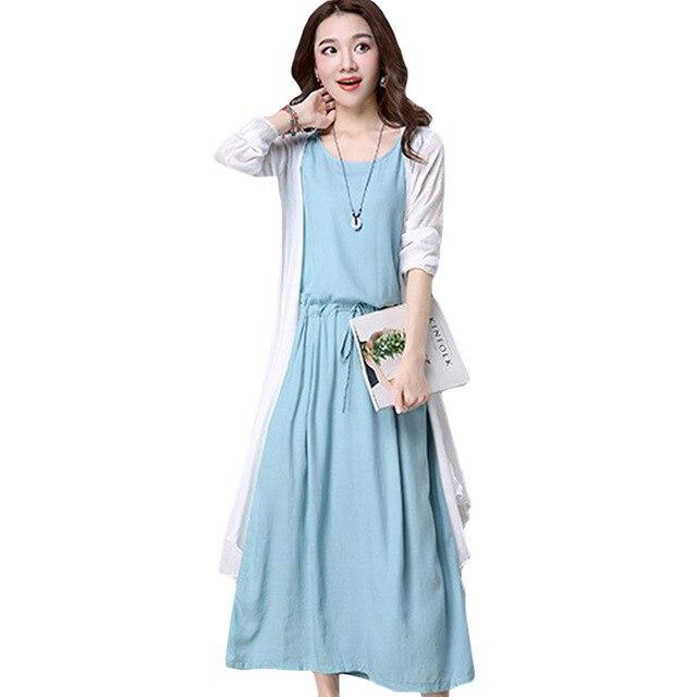 Summer White Cardigans Sleeveless Long Linen Dress Women Two Piece