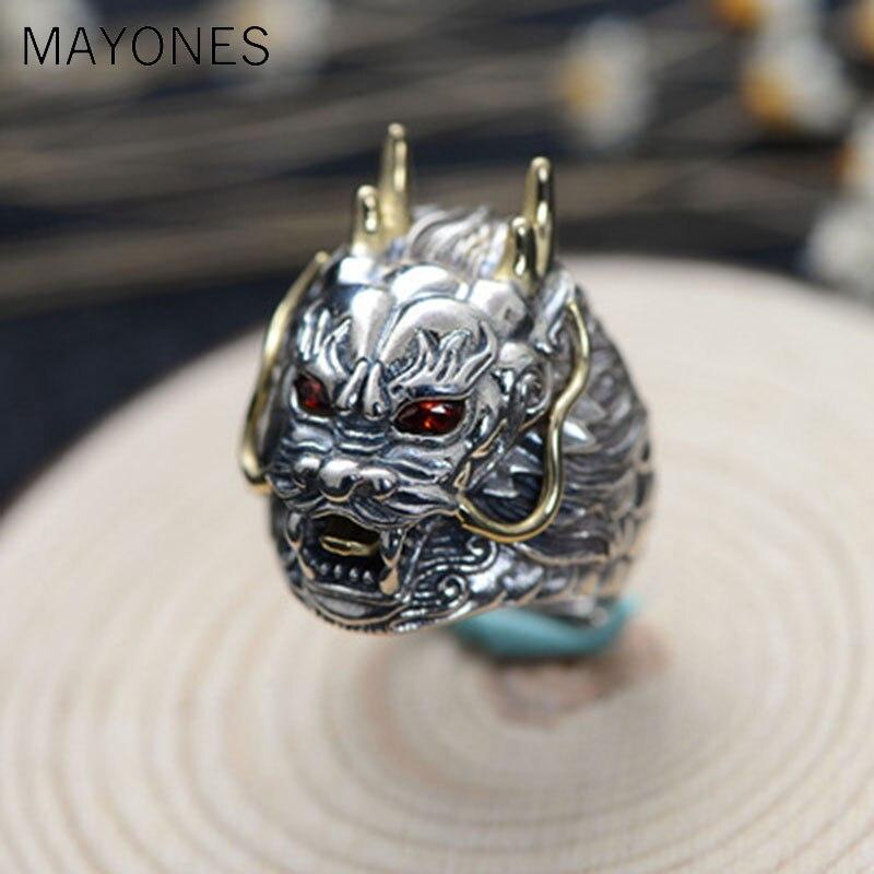 Bague Dragon en argent Sterling 925 de luxe grande taille réglable pierre rouge zircon cubique Punk hommes anneaux bijoux de motard gothique