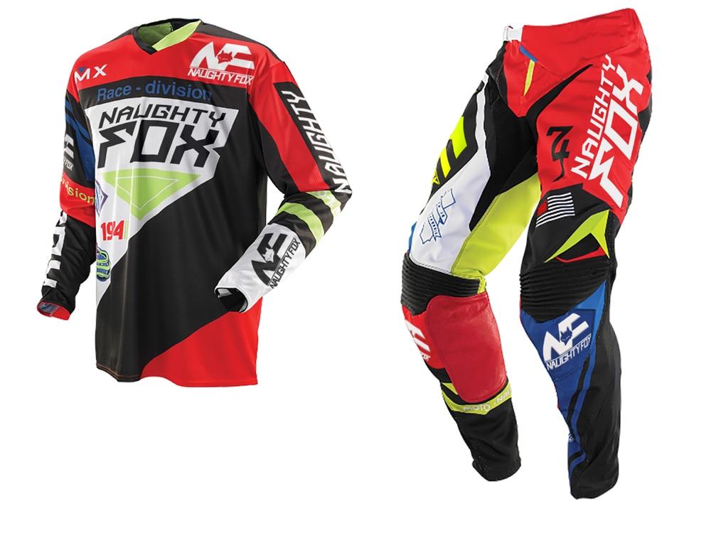 2018 NAUGHTY Fox MX Gear Set 360 Motocross ATV Dirt Bike Off-Road Gear Pant Jersey Combo RED / BLACK racing mx 360 shiv red white jersey pants combo motocross suit dirt bike off road mx atv gear set black white