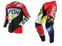 2018 NAUGHTY Fox MX Gear Set 360 Motocross ATV Dirt Bike Off Road Gear Pant Jersey Combo RED / BLACK
