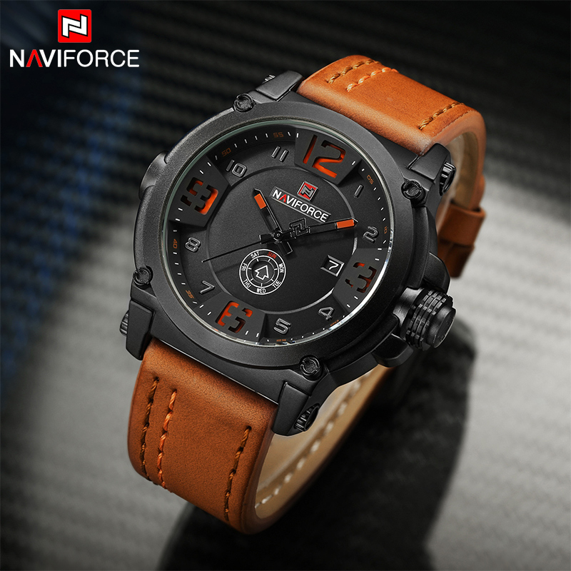 Men watches Luxury Original Brand NAVIFORCE Military sports watch Man Leather Waterproof Quartz Hour Clock Male wristwatches senors men s quartz watches sports watches waterproof luxury leather strap military watch couple wristwatches clock for men