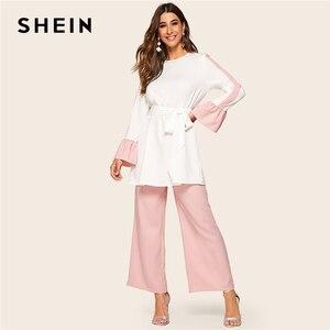 Image 4 - Shein abaya elegante dois tons auto com cinto superior e perna larga calças 2 peça conjunto feminino 2019 primavera outono longo blusa conjunto de duas peças