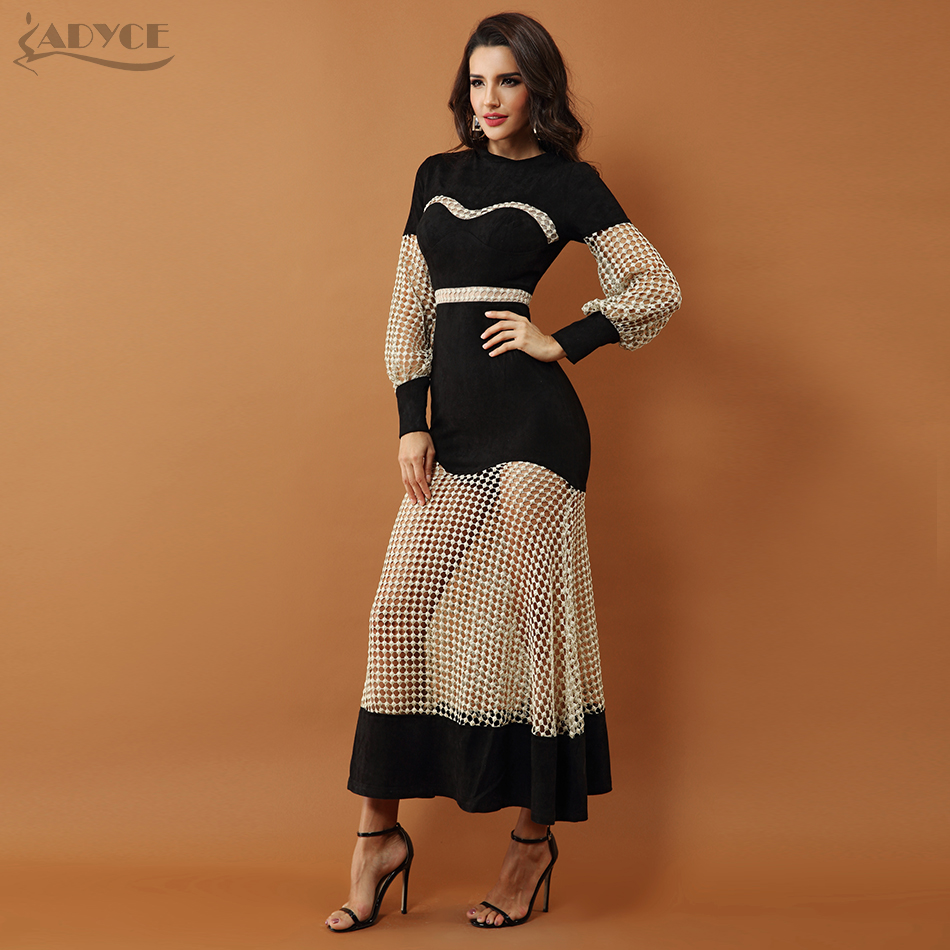 Adyce 2019 New Luxury Celebrity Evening Party Dresses Women Gown Black Long  Sleeve Lace Hollow Out Mesh Maxi Club Dress Vestidos-in Dresses from Women s  ... d266be930758