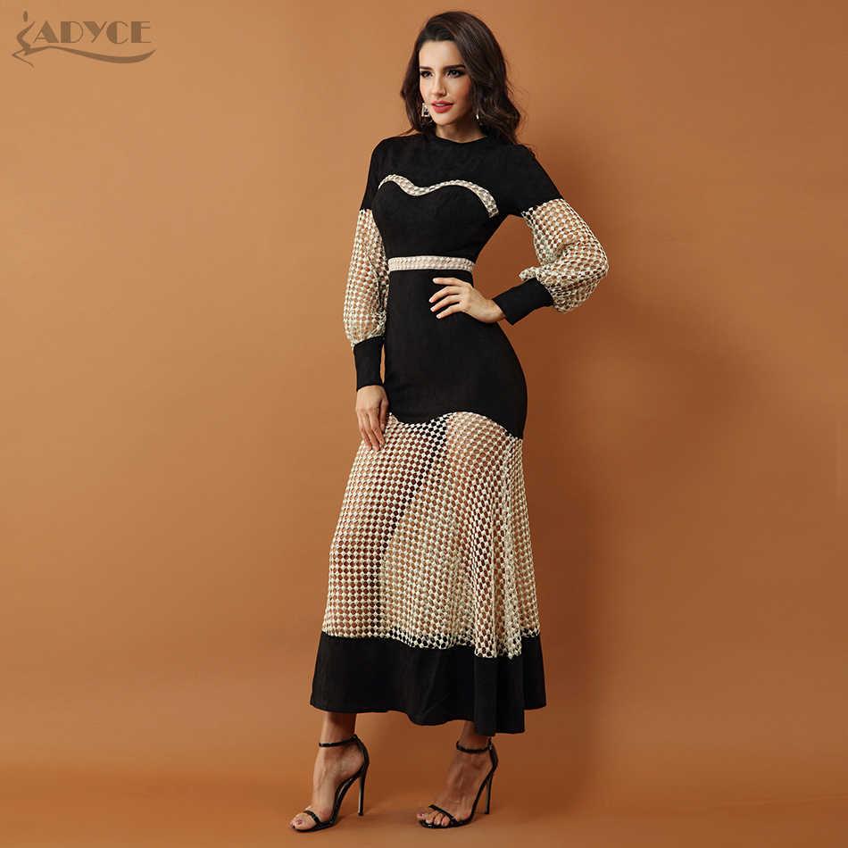 Adyce 2019 Новое роскошное вечернее платье знаменитостей, женское черное платье с длинным рукавом и кружевами, Сетчатое Макси Клубное платье Vestidos