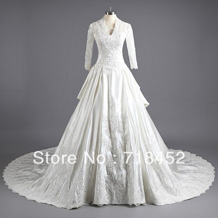 New Fashion 2013 Real Sample Wedding Dress Lace Sleeve V Neck Long