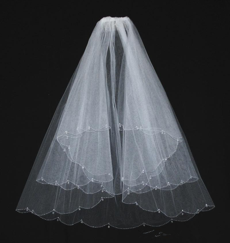 Ivory Wedding Veils With Crystal White Beaded Two Layers Comb Elbow Length Bridal Veil For Accessories In Stock From Weddings