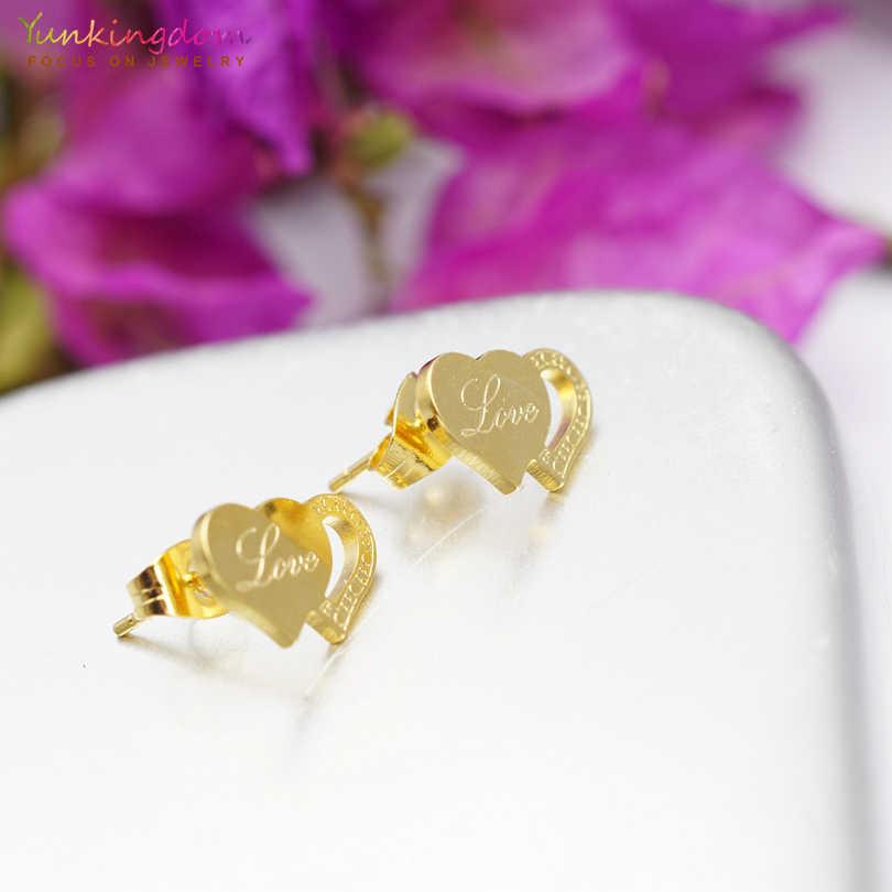Yunkingdom романтическое Двойное сердце кристалл Титан Ювелирные наборы нержавеющая сталь кулон ожерелье серьги для женщин UE0175