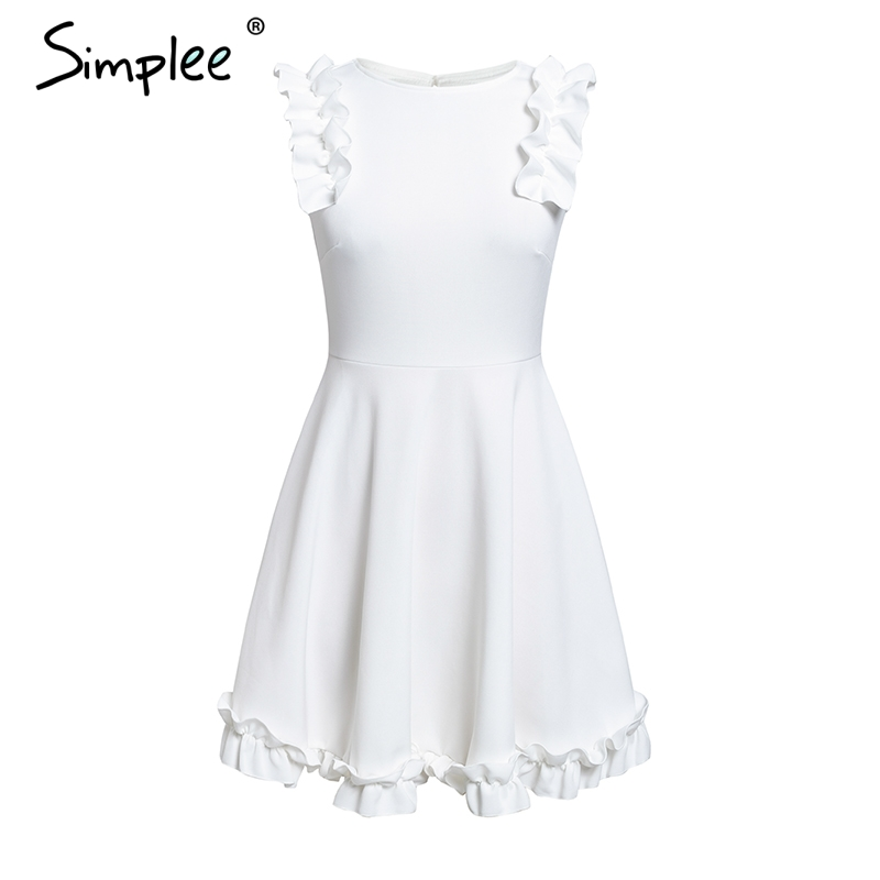 Sexy White Summer Dress Ruffle backless