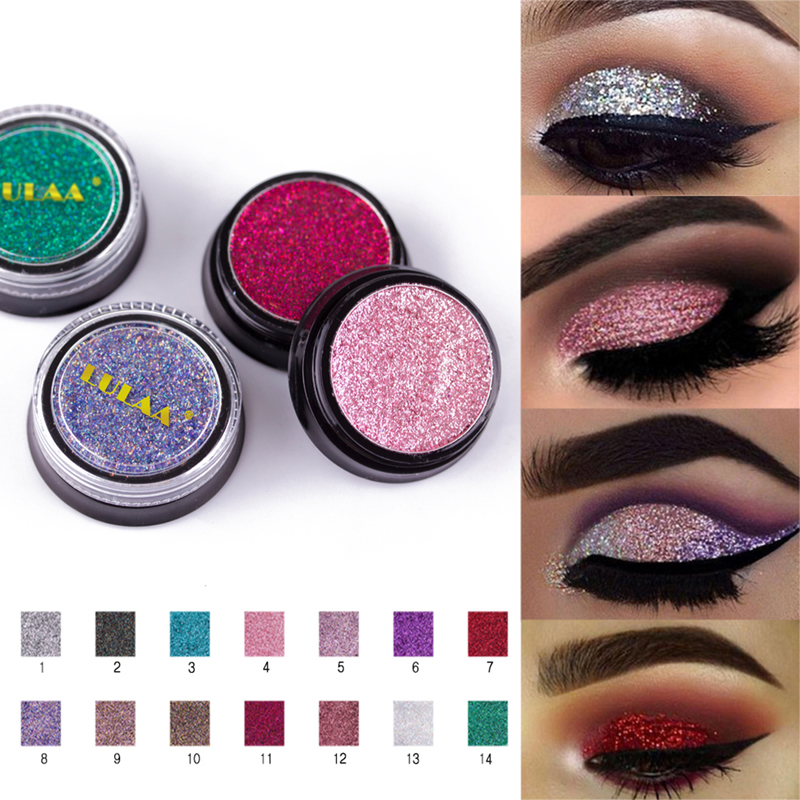 Eye Shadow Obliging Manooby 14 Colors Sequins Eyeshadow Powder High Pigment Makeup Shimmer Body Glitter Eyes Make Up Lip Nail Body Powder Cosmetics Beauty & Health