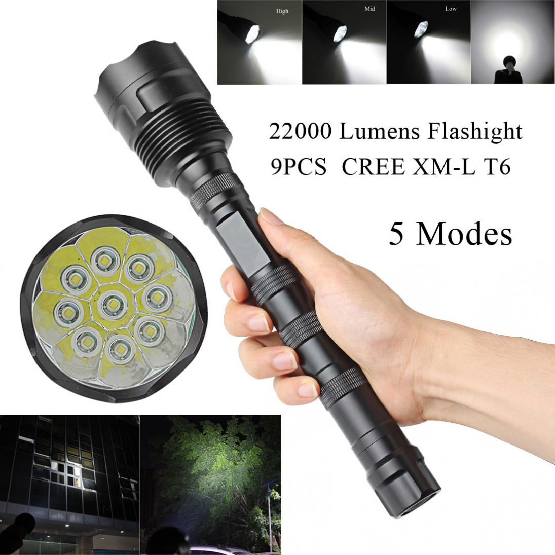 22000LM 5 Mode Outdoor 9x CREE XML T6 Super Flashlight Torch Lamp Light туфли super mode super mode su013awawra9