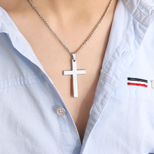 Men Cross Pendant Necklace Stainless Steel Link Chain Necklace Statement Charm Jewelry