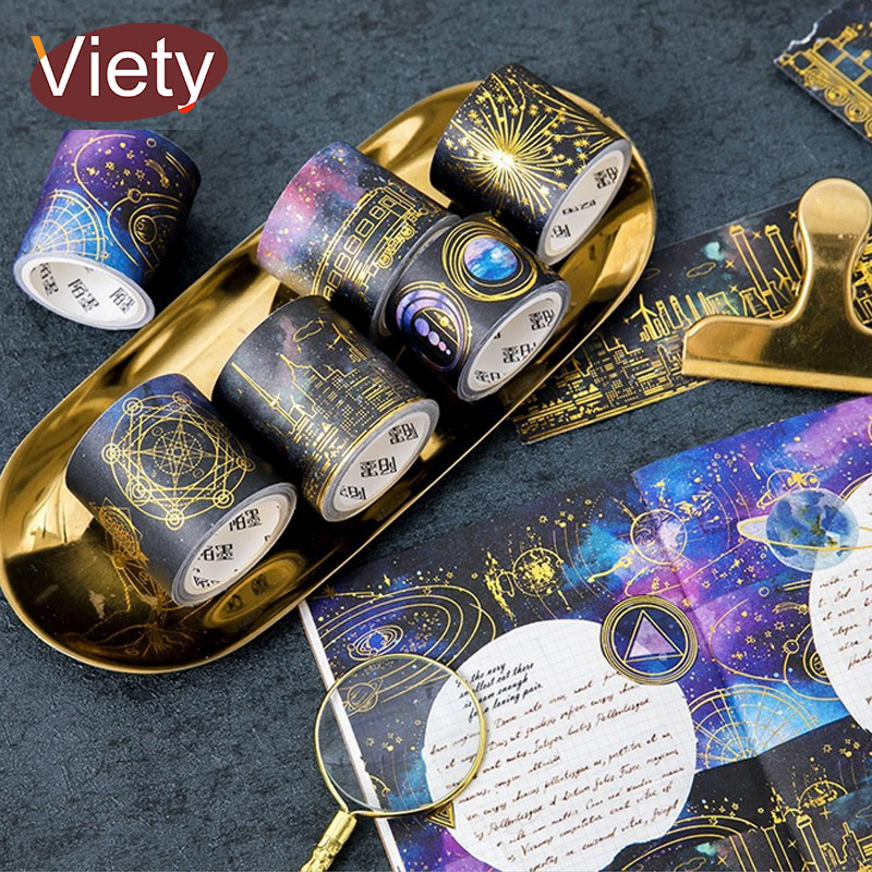 3-4.5cm*5m vintage Bronzing Starry sky washi tape DIY decoration scrapbooking planner masking tape adhesive tape label sticker 3 5 4cm 5m beautiful fairy tale horse washi tape diy decoration scrapbooking planner masking tape adhesive tape label sticker