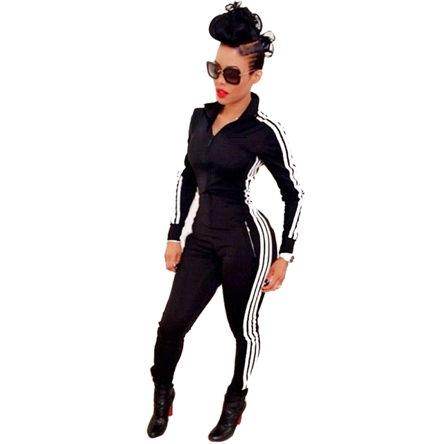 New Women Jumpsuits Rompers 2017 Spring Fall Fashion Long Sleeve Wear Playsuits Zipper Bodysuit Overalls macacao