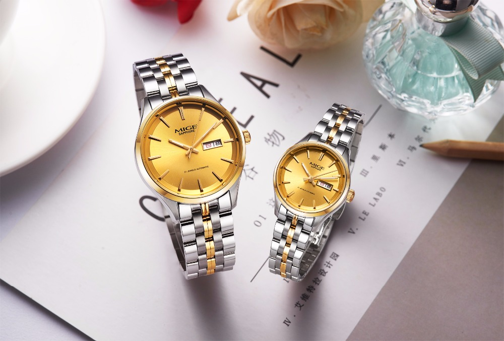 Mige 2018 Top Brand Luxury Hot Sale Automatic Couples Watch Steel Material Watchband Leisure Black Golden Man Mechanical Watches