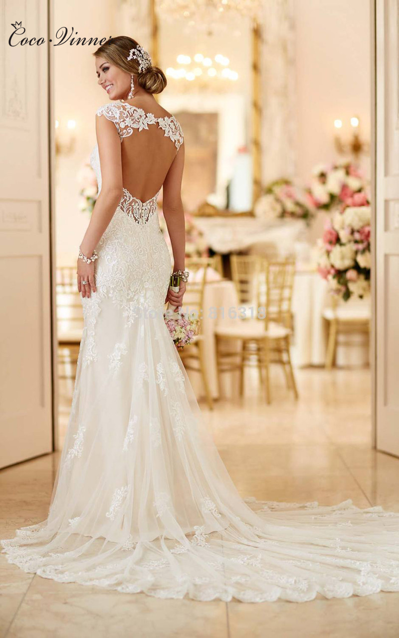 C.V Vestidos De Novia Ivory Sexy Open Back Lace Wedding Dress 2017 Vintage Bridal Dress Robe De Mariage Mermaid Wedding Dresses