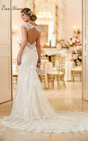 C V Fashion Mermaid Lace Wedding Dress 2017 New Arrival Backless Short Fish Tail Custom